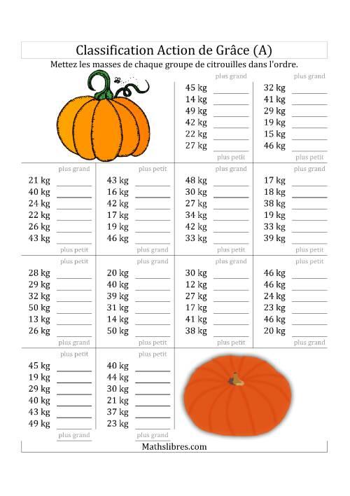 La Mettez en Ordre les Masses des Citrouilles en Nombres de 1 à 50 (A) Fiche d'Exercices de Maths pour l'Action de Grâce