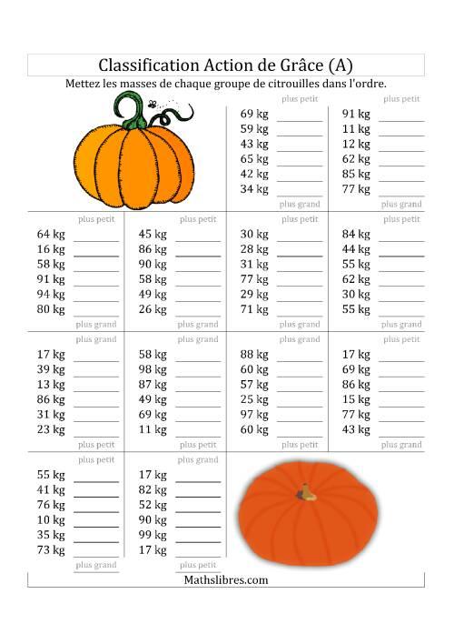 La Mettez en Ordre les Masses des Citrouilles en Nombres de 10 à 99 (A) Fiche d'Exercices de Maths pour l'Action de Grâce