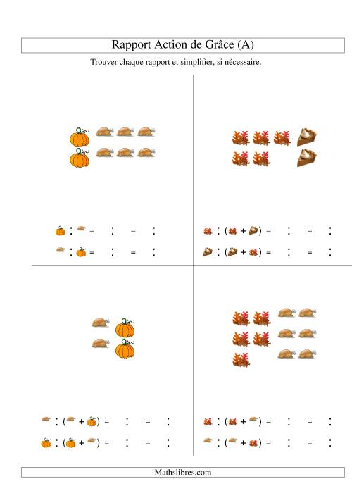 La Trouver Chaque Rapport et Simplifier (Nombres Inférieurs à 6) (A) Fiche d'Exercices de Maths pour l'Action de Grâce