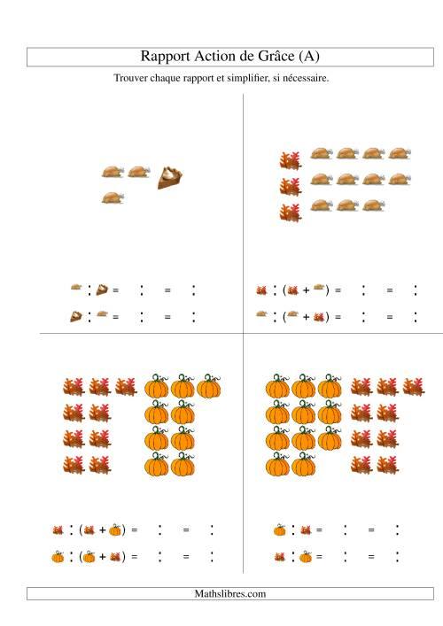 La Trouver Chaque Rapport et Simplifier (Nombres Inférieurs à 12) (A) Fiche d'Exercices de Maths pour l'Action de Grâce