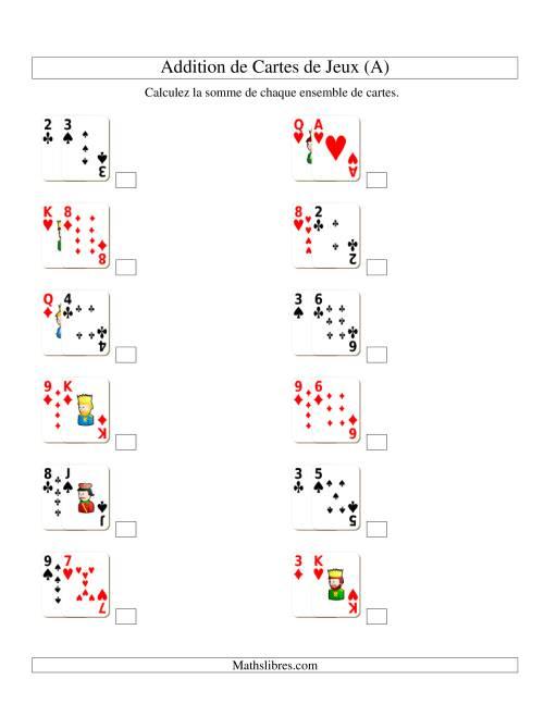 La Addition de deux cartes de jeu (A) Fiche d'Exercices d'Addition