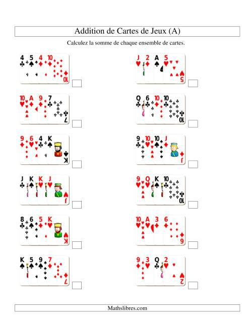 La Addition de quatre cartes de jeu (A) Fiche d'Exercices d'Addition