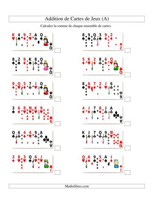La Addition de six cartes de jeu (A) Fiche d'Exercices d'Addition