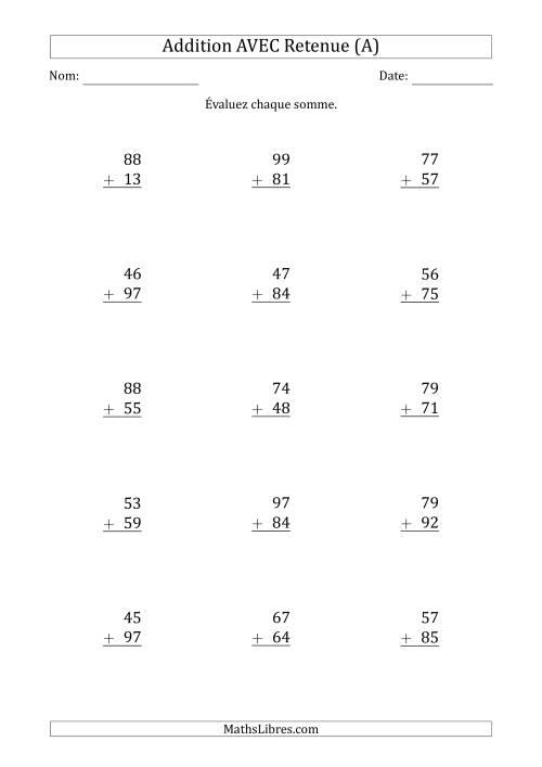 La Addition de nombres à deux chiffres avec retenue -- 100 par page (A) Fiche d'Exercices d'Addition