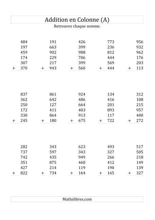 La Addition de Six Nombres à Trois Chiffres (A) Fiche d'Exercices sur l'Addition