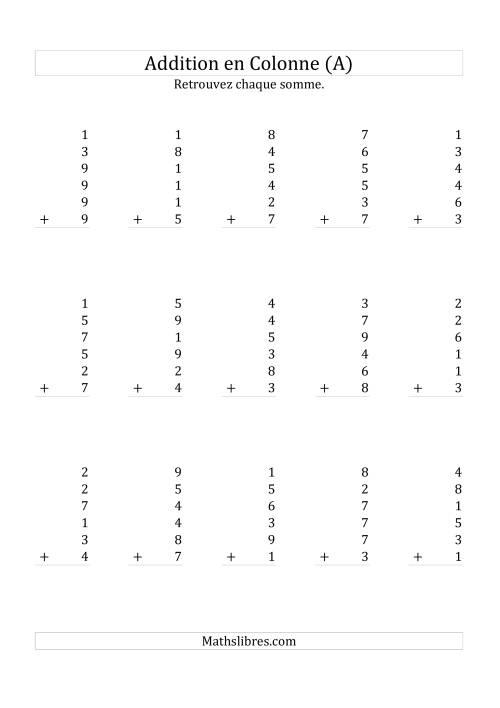La Addition de Six Nombres à Un Chiffre (A) Fiche d'Exercices sur l'Addition