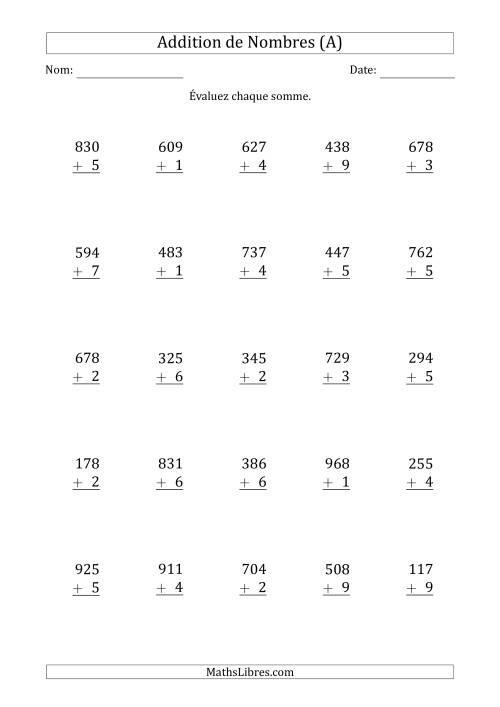 La Addition de nombres trois-chiffres et un-chiffre. (A) Fiche d'Exercices d'Addition