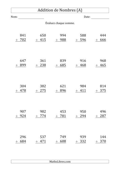 La Addition de nombres trois-chiffres (A) Fiche d'Exercices d'Addition