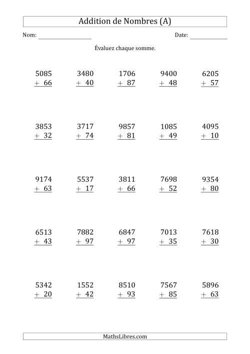 La Addition de nombres quatre-chiffres et deux-chiffres (A) Fiche d'Exercices d'Addition