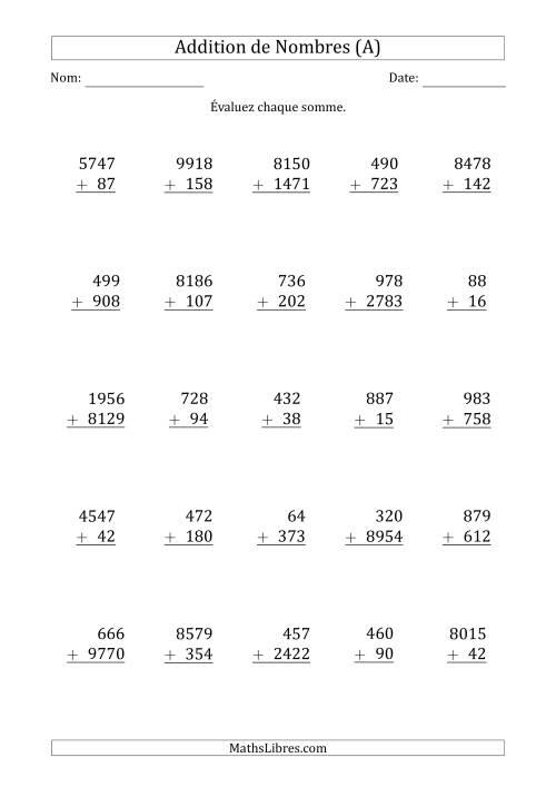 La Addition de nombres à chiffres variés (A) Fiche d'Exercices d'Addition