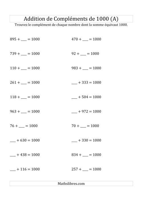 La Addition de Compléments de 1000 (A) Fiche d'Exercices sur l'Addition