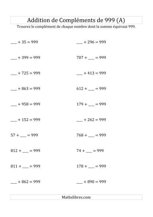 La Addition de Compléments de 999 (A) Fiche d'Exercices sur l'Addition