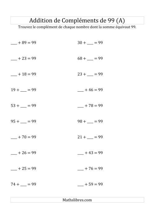 La Addition de Compléments de 99 (A) Fiche d'Exercices sur l'Addition
