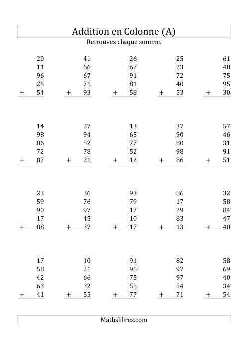 La Addition de Cinq Nombres à Deux Chiffres (A) Fiche d'Exercices sur l'Addition