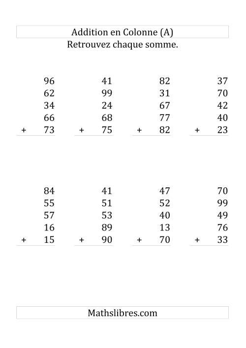 La Addition de Cinq Nombres à Deux Chiffres (Grand Format) Fiche d'Exercices sur l'Addition