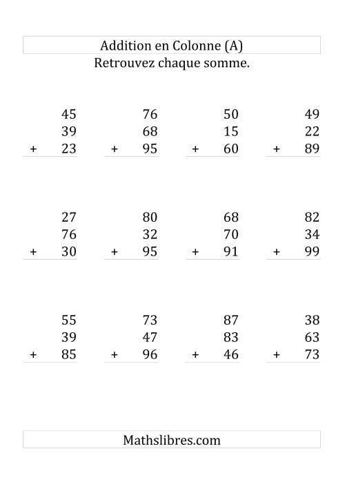 La Addition de Trois Nombres à Deux Chiffres (Grand Format) Fiche d'Exercices sur l'Addition