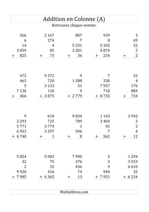 La Addition de Cinq Nombres (Avec des Chiffres Variant de Un à Cinq) (A) Fiche d'Exercices sur l'Addition