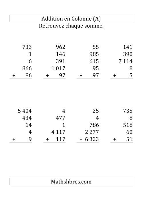 La Addition de Cinq Nombres (Avec des Chiffres Variant de Un à Cinq) [Grand Format] Fiche d'Exercices sur l'Addition
