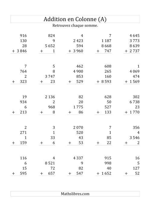 La Addition de Quatre Nombres (Avec des Chiffres Variant de Un à Quatre) (A) Fiche d'Exercices sur l'Addition