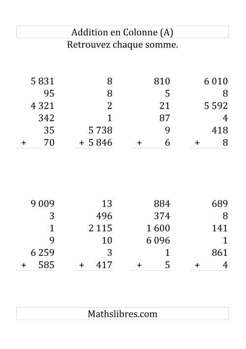 La Addition de Six Nombres (Avec des Chiffres Variant de Un à Six) [Grand Format] Fiche d'Exercices sur l'Addition