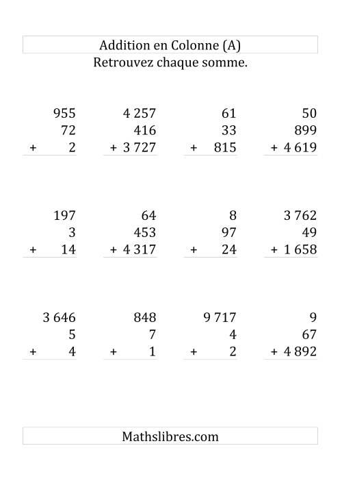 La Addition de Trois Nombres (Avec des Chiffres Variant de Un à Trois) [Grand format] Fiche d'Exercices sur l'Addition