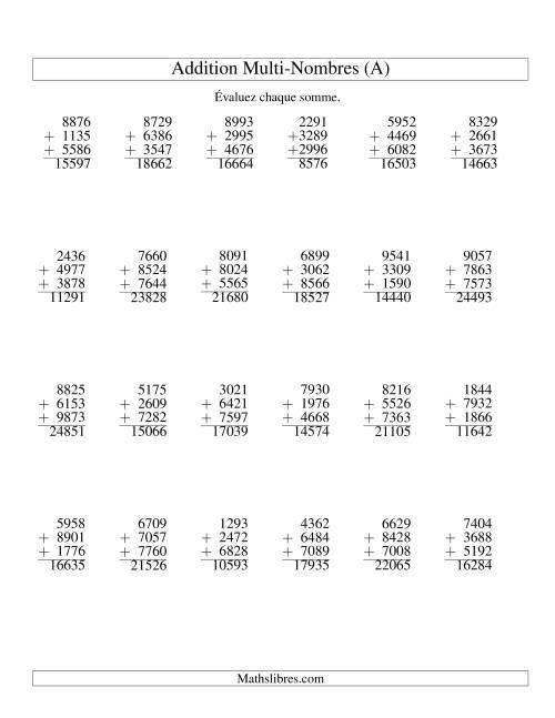La Addition de trois nombres à quatre chiffres (A) Fiche d'Exercices d'Addition