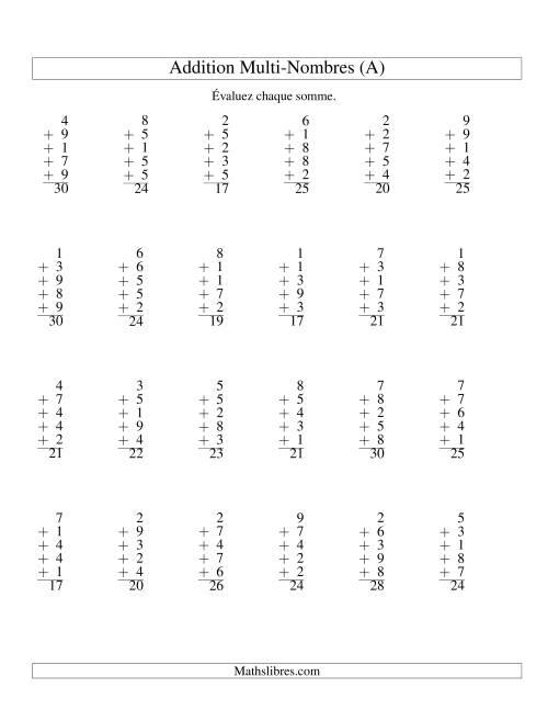 La Addition de cinq nombres à un chiffre (A) Fiche d'Exercices d'Addition