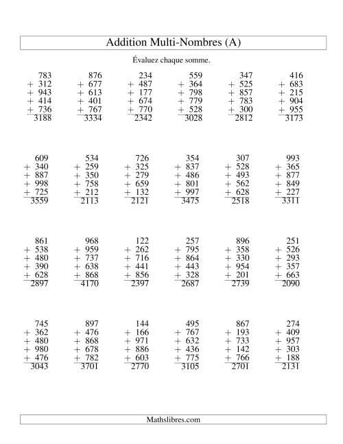 La Addition de cinq nombres à trois chifffres (A) Fiche d'Exercices d'Addition