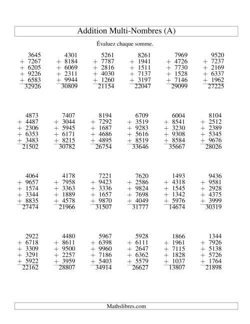 La Addition de cinq nombres à quatre chiffres (A) Fiche d'Exercices d'Addition