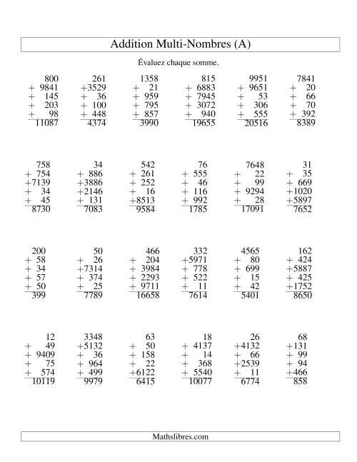 La Additiond de cinq nombres à chiffres variés (A) Fiche d'Exercices d'Addition