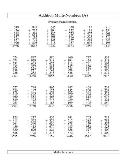 La Addition de six nombres à trois chiffres (A) Fiche d'Exercices d'Addition