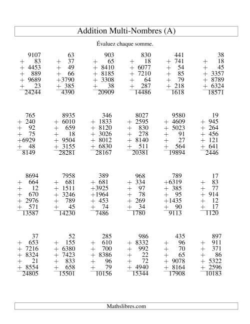 La Addition de six nombres à chiffres variés (A) Fiche d'Exercices d'Addition