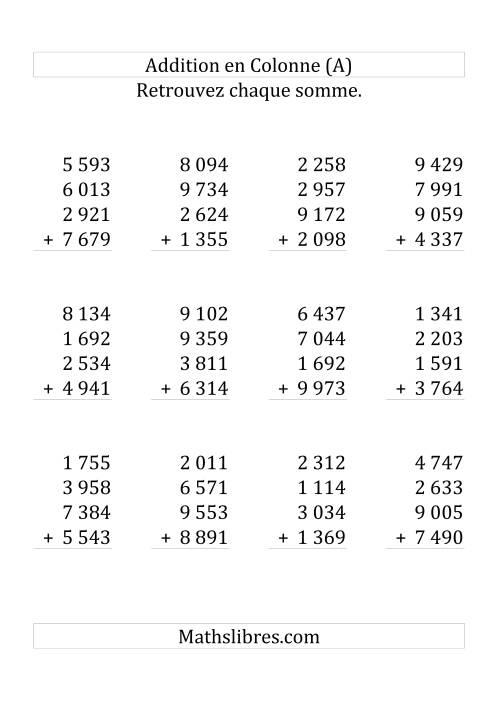 La Addition de Cinq Nombres à Quatre Chiffres (Grand Format) Fiche d'Exercices sur l'Addition