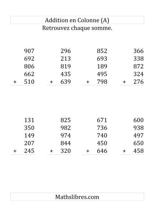 La Addition de Cinq Nombres à Trois Chiffres (Grand Format) Fiche d'Exercices sur l'Addition