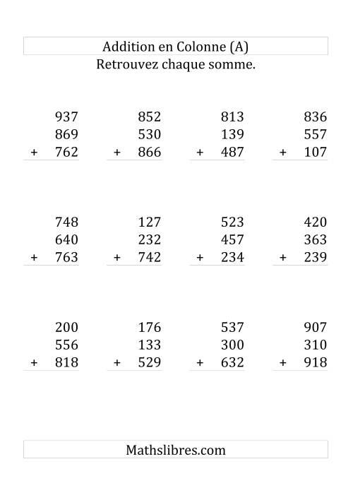 La Addition de Six Nombres à Trois Chiffres (Grand Format) Fiche d'Exercices sur l'Addition