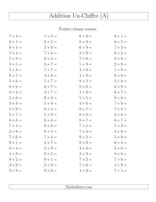 La Addition de nombres à un chiffre avec retenue -- 100 par page (A) Fiche d'Exercices d'Addition