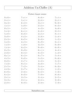 Addition de nombres à un chiffre sans retenue -- 100 par page (A)