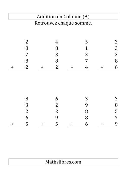 La Addition de Cinq Nombres à Un Chiffre (Grand Format) Fiche d'Exercices sur l'Addition