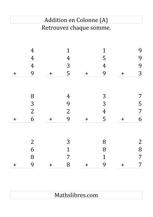 La Addition de Quatre Nombres à Un Chiffre (Grand Format) Fiche d'Exercices sur l'Addition