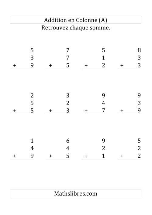 La Addition de Trois Nombres à Un Chiffre (Grand Format) Fiche d'Exercices sur l'Addition
