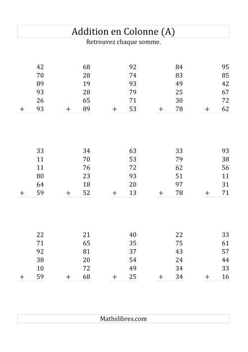 La Addition de Six Nombres à Deux Chiffres (A) Fiche d'Exercices sur l'Addition