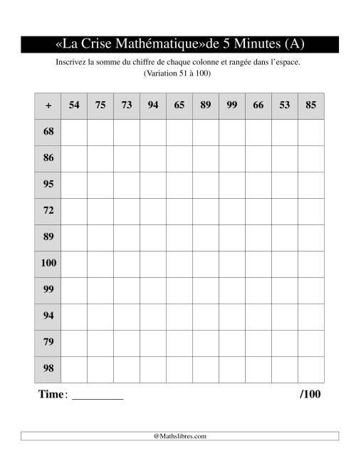 La « La crise mathématique » de 5 minutes -- Une grille par page -- Variation 51 à 100 (A) Fiche d'Exercices d'Addition