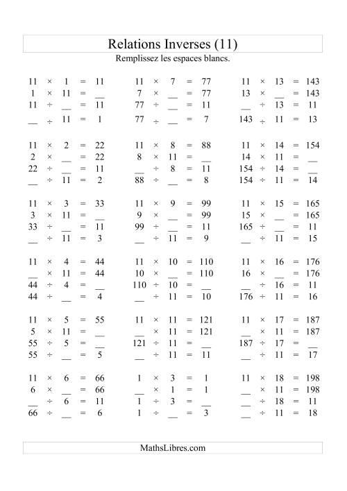 La Relations Inverses -- Multiplication et Division -- Un Chiffre Vedette par Page -- 11 Fiche d'Exercices d'Algèbre