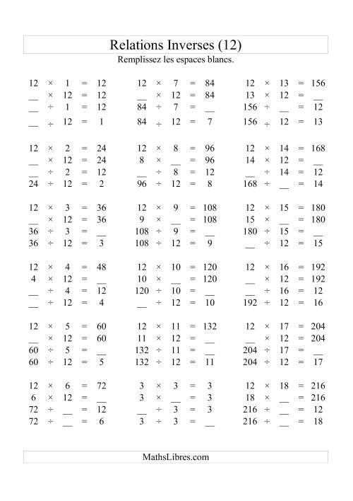 La Relations Inverses -- Multiplication et Division -- Un Chiffre Vedette par Page -- 12 (L) Fiche d'Exercices d'Algèbre