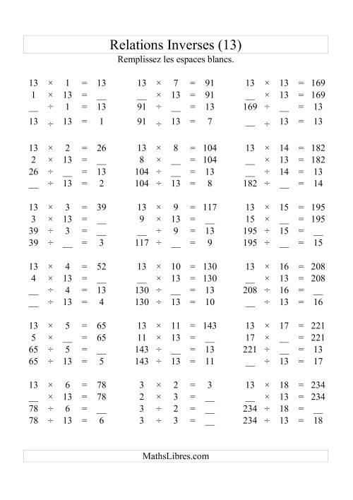La Relations Inverses -- Multiplication et Division -- Un Chiffre Vedette par Page -- 13 (M) Fiche d'Exercices d'Algèbre