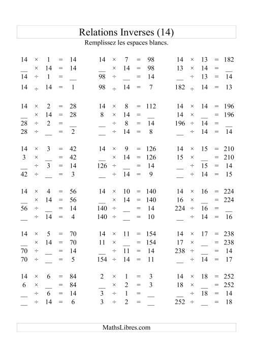 La Relations Inverses -- Multiplication et Division -- Un Chiffre Vedette par Page -- 14 (N) Fiche d'Exercices d'Algèbre