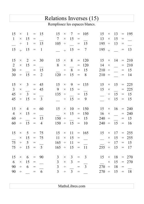 La Relations Inverses -- Multiplication et Division -- Un Chiffre Vedette par Page -- 15 (O) Fiche d'Exercices d'Algèbre
