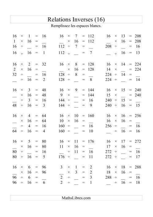 La Relations Inverses -- Multiplication et Division -- Un Chiffre Vedette par Page -- 16 Fiche d'Exercices d'Algèbre