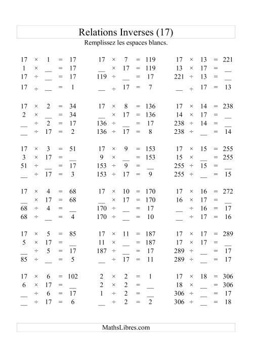 La Relations Inverses -- Multiplication et Division -- Un Chiffre Vedette par Page -- 17 (Q) Fiche d'Exercices d'Algèbre