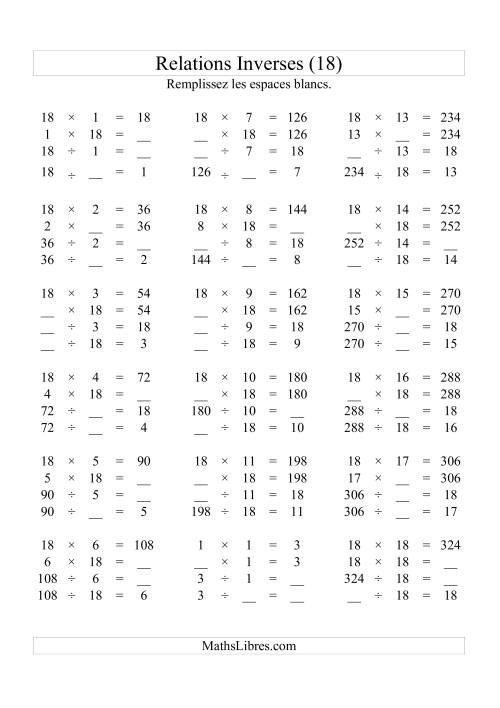 La Relations Inverses -- Multiplication et Division -- Un Chiffre Vedette par Page -- 18 (R) Fiche d'Exercices d'Algèbre